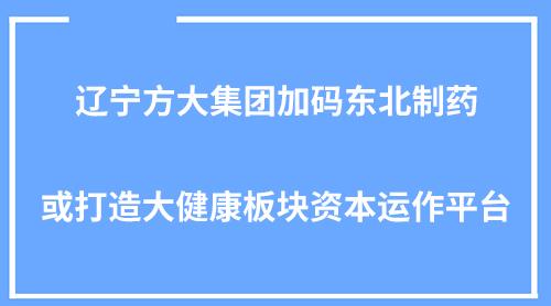 辽宁方大集团加码东北制药或打造大健康板块资本运作平台